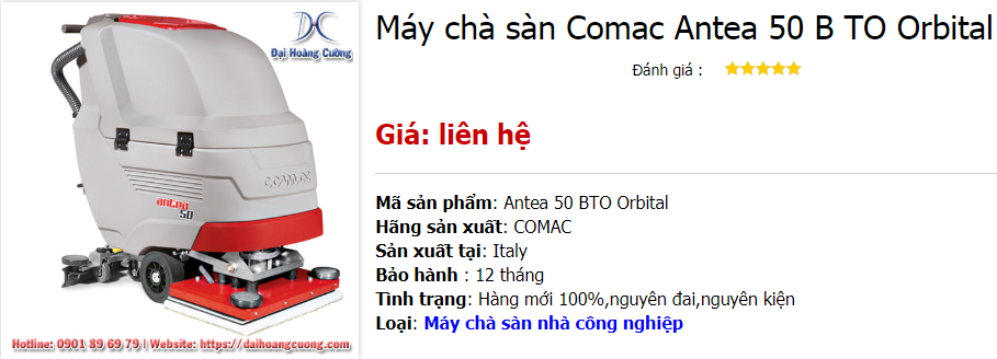 Máy chà sàn Comac Antea 50 B TO Orbital | Bàn chải hình chữ nhật
