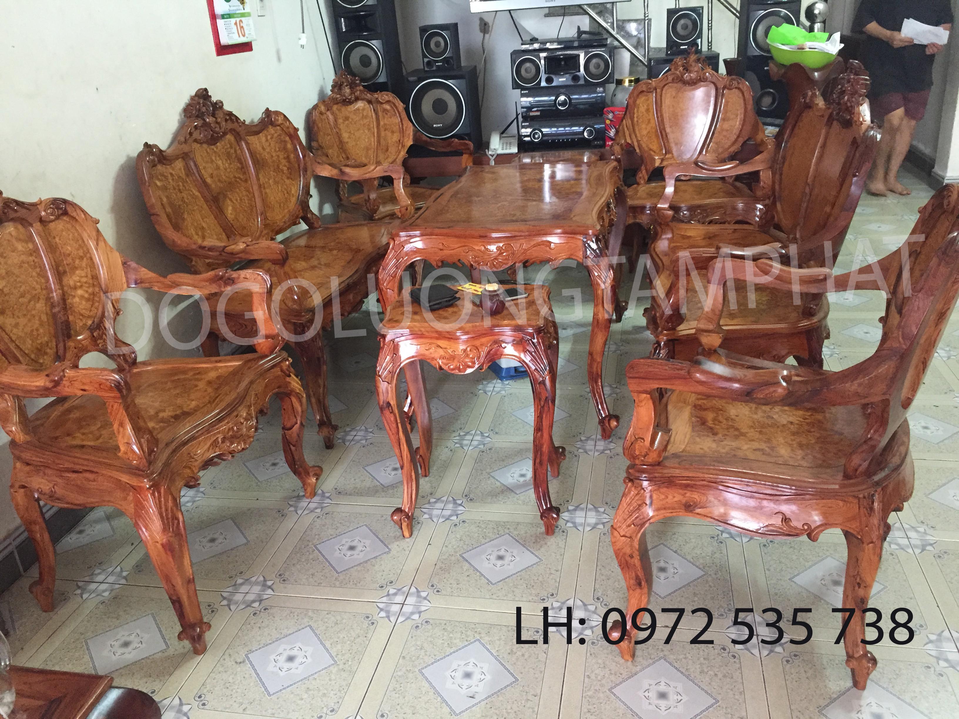 ghế dài bộ bàn ghế louis phòng khách