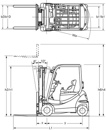 Mô hình kích thước xe nâng Komatsu FB15HB-12