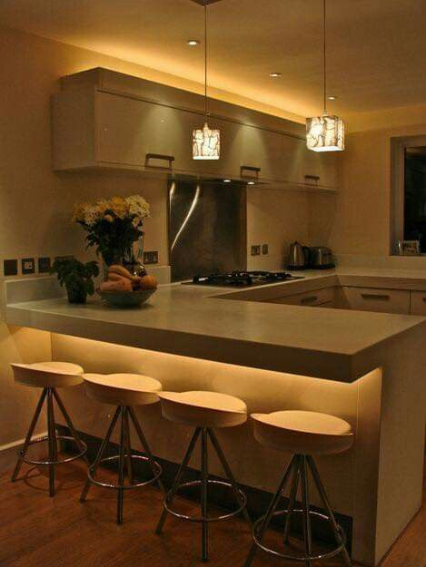 Cách bố trí đèn led âm trần cho không gian bếp