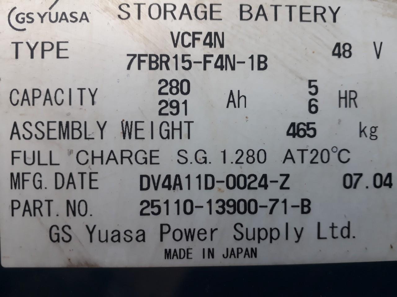 Xe nâng điện cũ hiệu Toyota Model7FBRS15, tải trọng 1.5 tấn, nâng cao 5.5m, sản xuất năm 2007