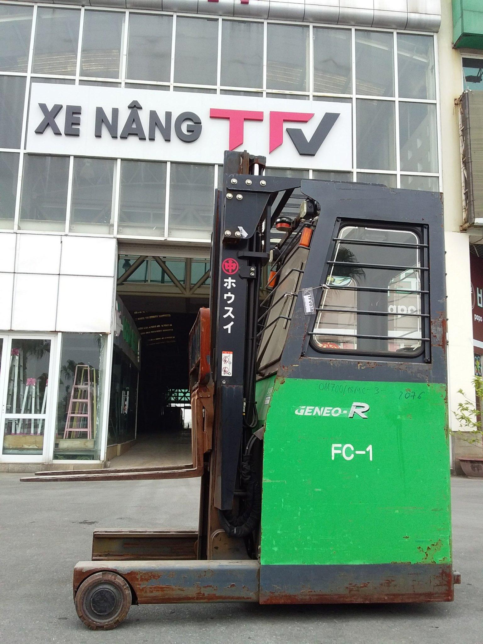 Xe nâng điện Toyota 7FBR15-52076, tải trọng 1.5 tấn, nâng cao 3.7m, sx 2013, đã qua sử dụng