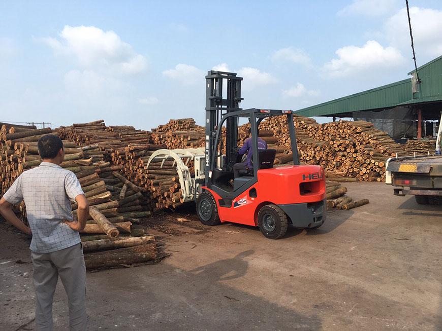 Xe nâng càng kẹp gỗ